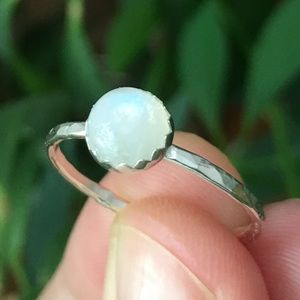 Jewelry - sterling silver rainbow moonstone stacking ring 🌈